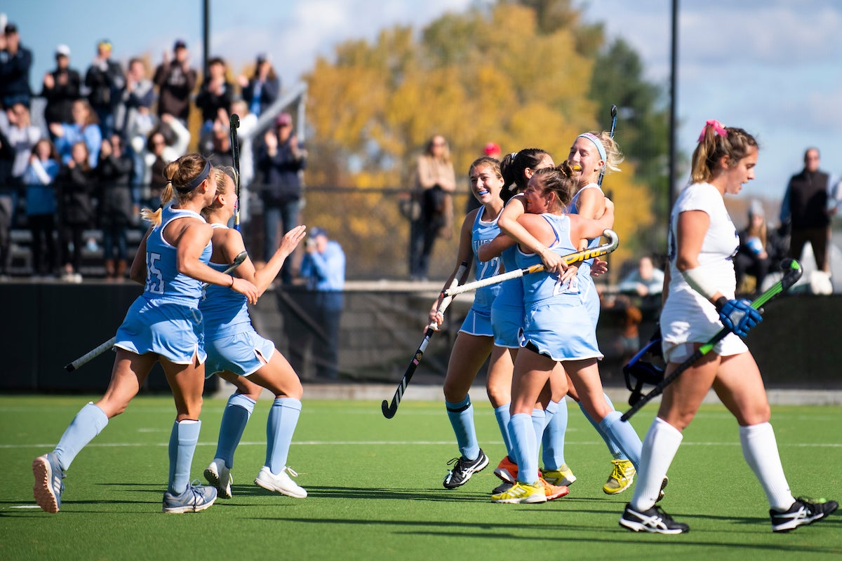 Field hockey team celebration