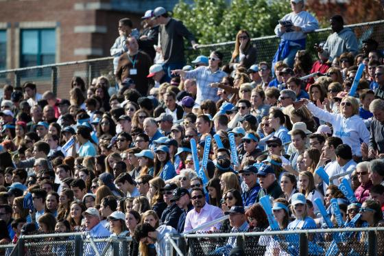 Homecoming Football Game Crowd wearing Tufts Blue 2015