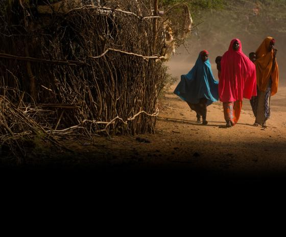 Refugees walking down a dirt road