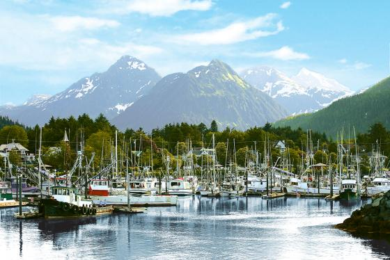 Alaska Sitka Harbour with mountain and boats
