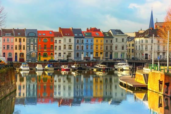 ghent belgium harbor with brightly colored houses
