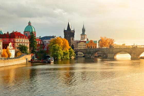 Prague with Elbe River