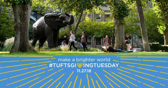 "Tufts students hang out on the lawn in front of the Jumbo statue on the Medford/Somerville campus, and a ""Giving Tuesday"" logo appears below."