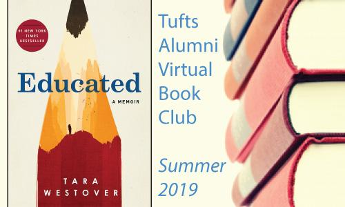 "Tufts Alumni Virtual Book Club logo, featuring the book cover for ""Educated"""