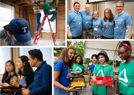 Collage of photos of alumni volunteering