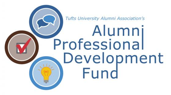 "A graphic displaying the words ""Alumni Professional Development Fund"""