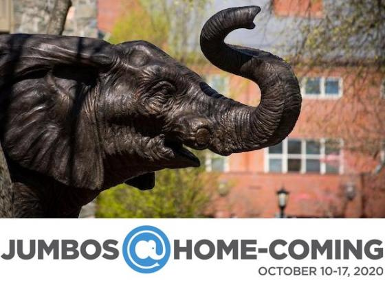 "Jumbo statue on the Tufts University campus with the text ""Jumbos@Home-Coming"" underneath."