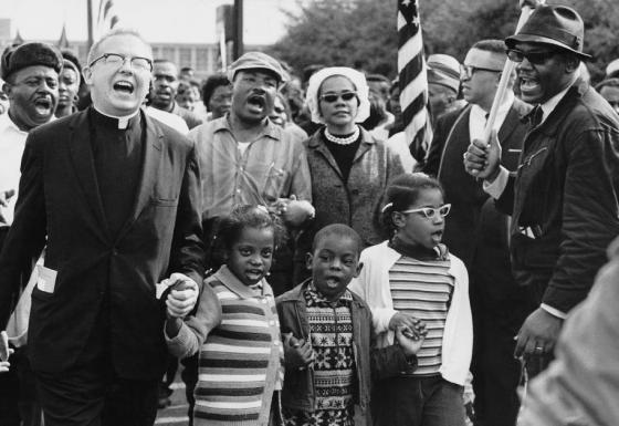 Civil Rights march MLK & crowd