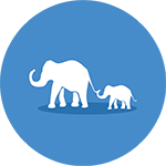 Blue Icon with Elephants