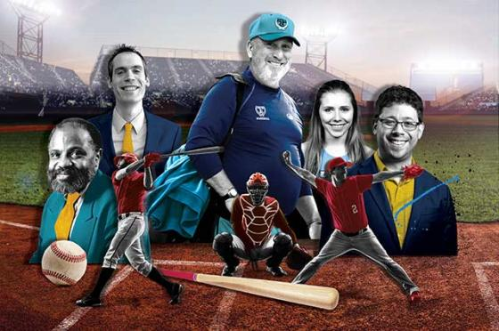 Jumbos with ties to our national pastime include, from left, late history professor Gerald Gill; Mike DeBartolo, A06; longtime baseball coach John Casey, A80; Julia Prusaczyk, E18; and Peter Bendix, A08. Illustration: Matt Herring