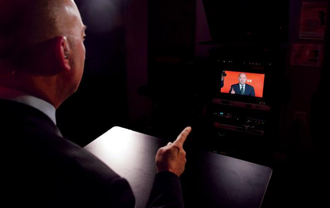 Dean James Stavridis, F83, F84, uses the media studio