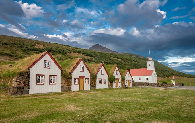 Iceland houses and church