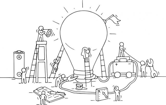 Illustration of a large lightbulb with faceless people on ladders working around it with batteries to power it