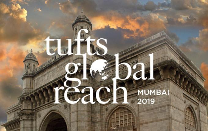 The Tufts Global Reach logo over a photo of a building in Mumbai.