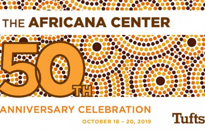 "A banner with the words ""The Africana Center 50th Anniversary Celebration"""