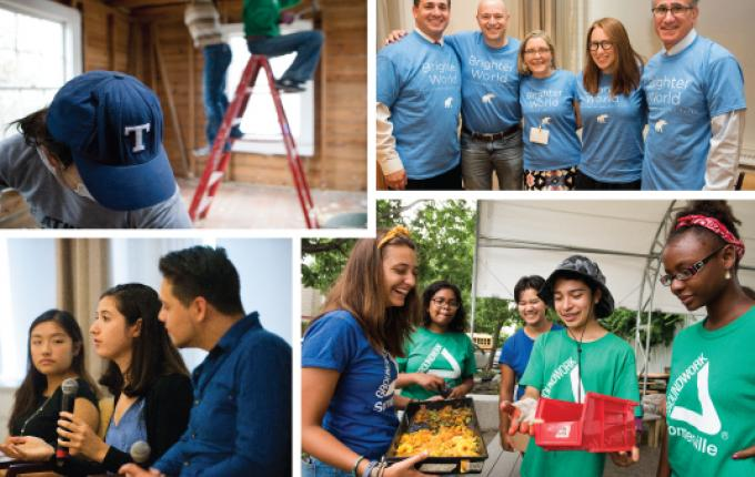 Collage of images of alumni volunteering