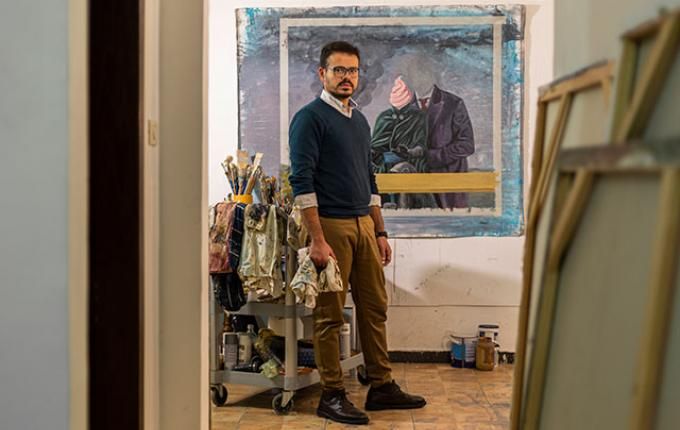 Khaldoun Hijazin, shown in his studio in Jordan, has developed collaborative exhibitions to bring attention to contemporary visual arts. Photo: Ahmad Salameh