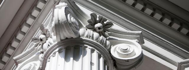 architectural columns, looking up